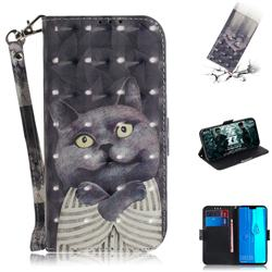Cat Embrace 3D Painted Leather Wallet Phone Case for Huawei Y9 (2019)