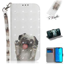 Pug Dog 3D Painted Leather Wallet Phone Case for Huawei Y9 (2019)