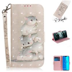 Three Squirrels 3D Painted Leather Wallet Phone Case for Huawei Y9 (2019)