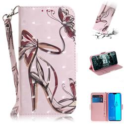 Butterfly High Heels 3D Painted Leather Wallet Phone Case for Huawei Y9 (2019)