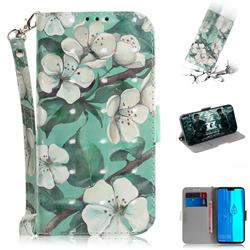 Watercolor Flower 3D Painted Leather Wallet Phone Case for Huawei Y9 (2019)