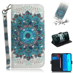 Peacock Mandala 3D Painted Leather Wallet Phone Case for Huawei Y9 (2019)