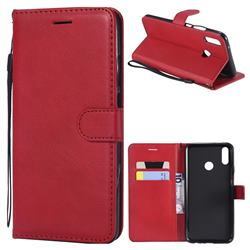 Retro Greek Classic Smooth PU Leather Wallet Phone Case for Huawei Y9 (2019) - Red