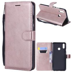 Retro Greek Classic Smooth PU Leather Wallet Phone Case for Huawei Y9 (2019) - Rose Gold
