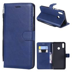 Retro Greek Classic Smooth PU Leather Wallet Phone Case for Huawei Y9 (2019) - Blue