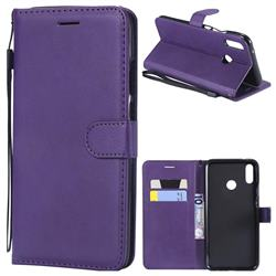 Retro Greek Classic Smooth PU Leather Wallet Phone Case for Huawei Y9 (2019) - Purple