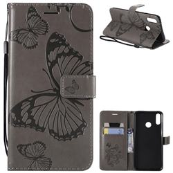 Embossing 3D Butterfly Leather Wallet Case for Huawei Y9 (2019) - Gray