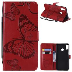 Embossing 3D Butterfly Leather Wallet Case for Huawei Y9 (2019) - Red