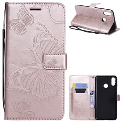 Embossing 3D Butterfly Leather Wallet Case for Huawei Y9 (2019) - Rose Gold