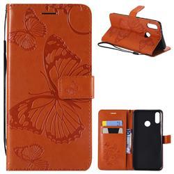 Embossing 3D Butterfly Leather Wallet Case for Huawei Y9 (2019) - Orange