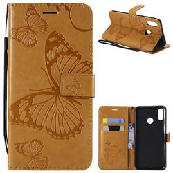Embossing 3D Butterfly Leather Wallet Case for Huawei Y9 (2019) - Yellow