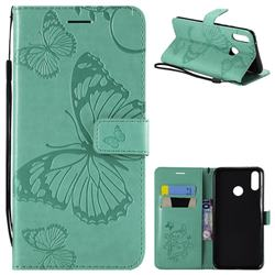Embossing 3D Butterfly Leather Wallet Case for Huawei Y9 (2019) - Green