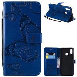 Embossing 3D Butterfly Leather Wallet Case for Huawei Y9 (2019) - Blue