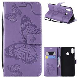 Embossing 3D Butterfly Leather Wallet Case for Huawei Y9 (2019) - Purple