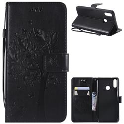 Embossing Butterfly Tree Leather Wallet Case for Huawei Y9 (2019) - Black