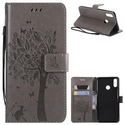 Embossing Butterfly Tree Leather Wallet Case for Huawei Y9 (2019) - Grey