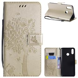 Embossing Butterfly Tree Leather Wallet Case for Huawei Y9 (2019) - Champagne