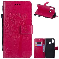 Embossing Butterfly Tree Leather Wallet Case for Huawei Y9 (2019) - Rose