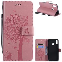 Embossing Butterfly Tree Leather Wallet Case for Huawei Y9 (2019) - Pink