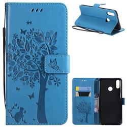 Embossing Butterfly Tree Leather Wallet Case for Huawei Y9 (2019) - Blue