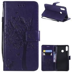 Embossing Butterfly Tree Leather Wallet Case for Huawei Y9 (2019) - Purple