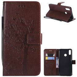 Embossing Butterfly Tree Leather Wallet Case for Huawei Y9 (2019) - Coffee