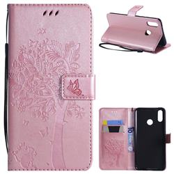 Embossing Butterfly Tree Leather Wallet Case for Huawei Y9 (2019) - Rose Pink