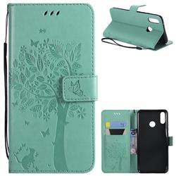 Embossing Butterfly Tree Leather Wallet Case for Huawei Y9 (2019) - Cyan