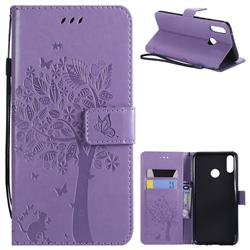 Embossing Butterfly Tree Leather Wallet Case for Huawei Y9 (2019) - Violet