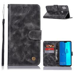Luxury Retro Leather Wallet Case for Huawei Y9 (2019) - Gray