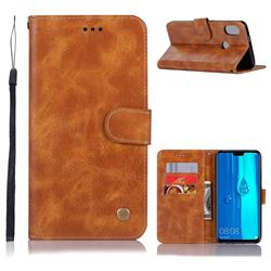 Luxury Retro Leather Wallet Case for Huawei Y9 (2019) - Golden