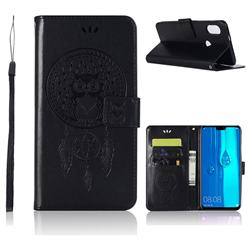Intricate Embossing Owl Campanula Leather Wallet Case for Huawei Y9 (2019) - Black