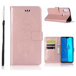 Intricate Embossing Owl Campanula Leather Wallet Case for Huawei Y9 (2019) - Rose Gold