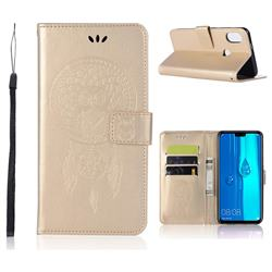 Intricate Embossing Owl Campanula Leather Wallet Case for Huawei Y9 (2019) - Champagne