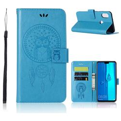 Intricate Embossing Owl Campanula Leather Wallet Case for Huawei Y9 (2019) - Blue