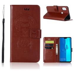 Intricate Embossing Owl Campanula Leather Wallet Case for Huawei Y9 (2019) - Brown