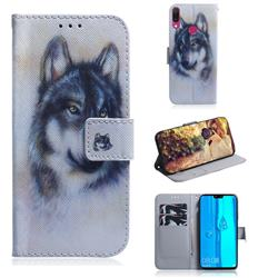 Snow Wolf PU Leather Wallet Case for Huawei Y9 (2019)