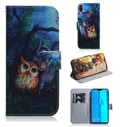 Oil Painting Owl PU Leather Wallet Case for Huawei Y9 (2019)