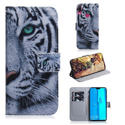 White Tiger PU Leather Wallet Case for Huawei Y9 (2019)