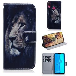 Lion Face PU Leather Wallet Case for Huawei Y9 (2019)