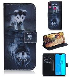 Wolf and Dog PU Leather Wallet Case for Huawei Y9 (2019)