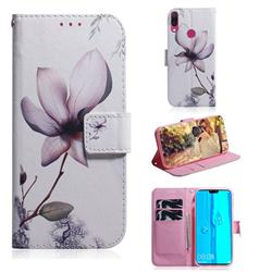 Magnolia Flower PU Leather Wallet Case for Huawei Y9 (2019)