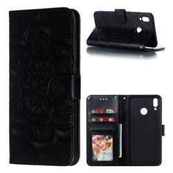 Intricate Embossing Datura Solar Leather Wallet Case for Huawei Y9 (2019) - Black