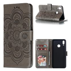 Intricate Embossing Datura Solar Leather Wallet Case for Huawei Y9 (2019) - Gray