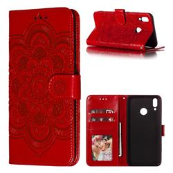 Intricate Embossing Datura Solar Leather Wallet Case for Huawei Y9 (2019) - Red