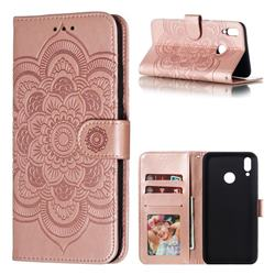Intricate Embossing Datura Solar Leather Wallet Case for Huawei Y9 (2019) - Rose Gold