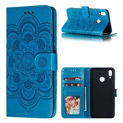 Intricate Embossing Datura Solar Leather Wallet Case for Huawei Y9 (2019) - Blue