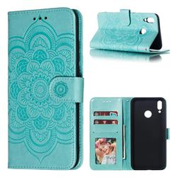 Intricate Embossing Datura Solar Leather Wallet Case for Huawei Y9 (2019) - Green