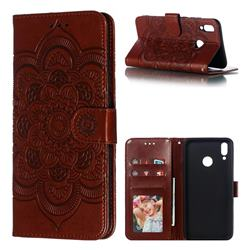 Intricate Embossing Datura Solar Leather Wallet Case for Huawei Y9 (2019) - Brown