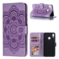 Intricate Embossing Datura Solar Leather Wallet Case for Huawei Y9 (2019) - Purple